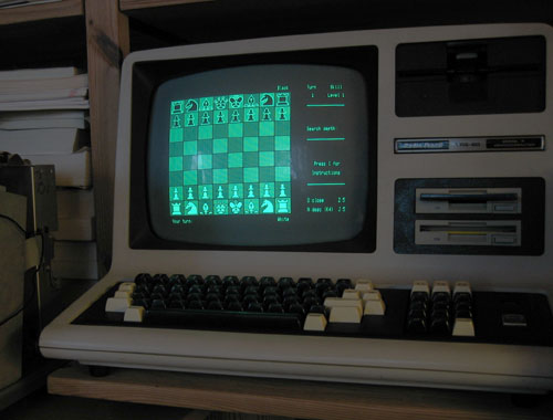 Chess on TRS-80 Model 4 with Grafyx Solution